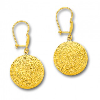 Minoan Phaistos Disk - 14K Solid Gold Drop Earrings A/Medium