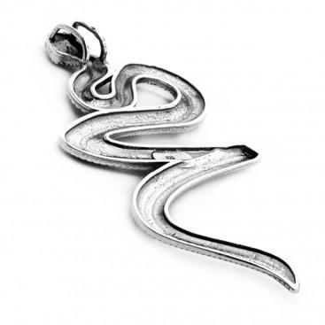 Snake-Serpent ~ Sterling Silver & MOP Pendant - L