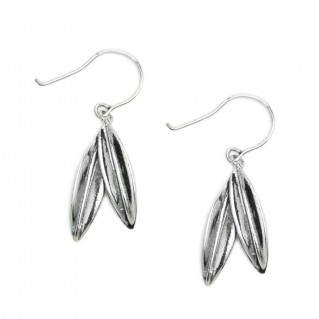 Greek Olive Leaves Drop Earrings - Sterling Silver Earrings with Hook