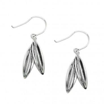 Greek Olive Leaves Drop Earrings - Sterling Silver Earrings with Hook