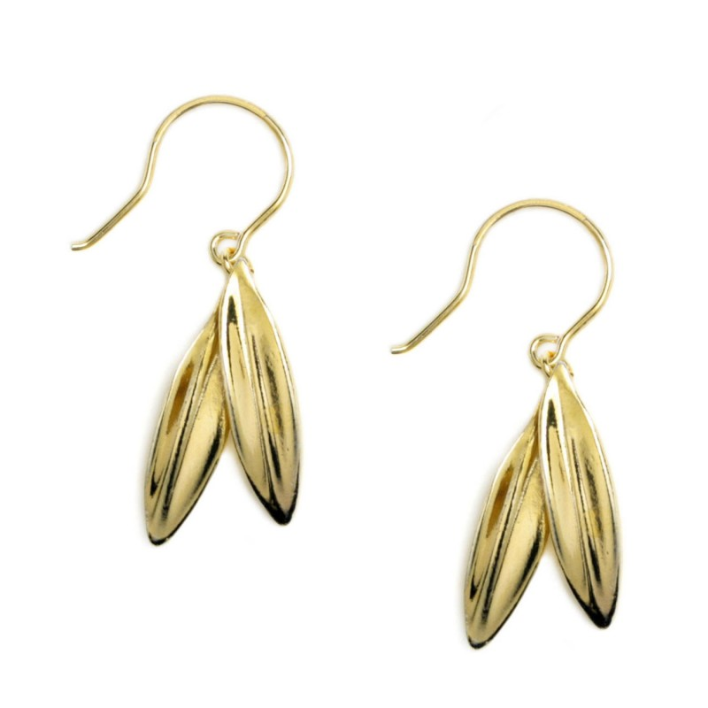 Greek Olive Leaves Gold Plated Sterling Silver Earrings With Hook
