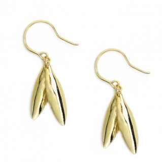 Greek Olive Leaves ~ Gold Plated Sterling Silver Earrings with Hook