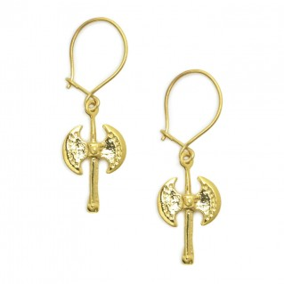 Minoan Labrys-Double Axe ~ Gold Plated Sterling Silver Earrings with Hook