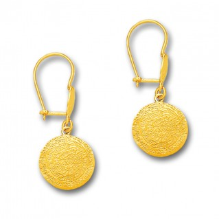 Minoan Phaistos Disk - 14K Solid Gold Drop Earrings A/Small