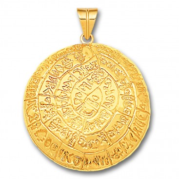 Minoan Phaistos Disk - 14K Solid Gold Curved Pendant A/Xlarge