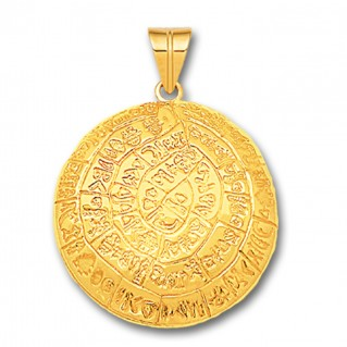 Minoan Phaistos Disk - 14K Solid Gold Curved Pendant A/Large