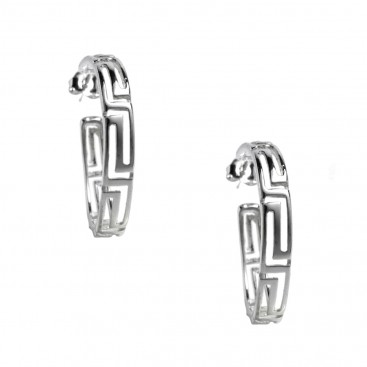 Meander-Greek Key ~ Sterling Silver Open Hoop Earrings
