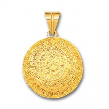 Minoan Phaistos Disk - 14K Solid Gold Curved Pendant A/Medium