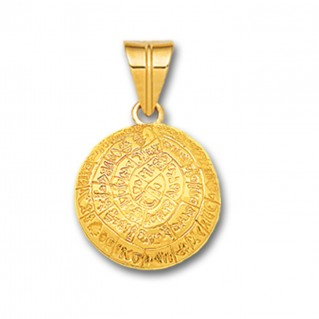 Minoan Phaistos Disk - 14K Solid Gold Curved Pendant A/Small