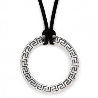 Meander-Greek Key Necklace ~ Sterling Silver Large Pendant with Choker
