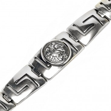 Hercules Coin ~ Greek Key Meander - Sterling Silver Bracelet