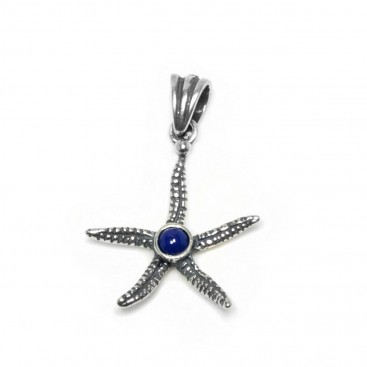Starfish ~ Sterling Silver Pendant with Lapis Lazuli