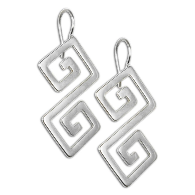 Double Meander Greek Key Sterling Silver Pierced Earrings