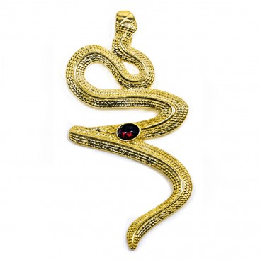 Snake-Serpent ~ Gold Plated Sterling Silver and Carnelian Pendant - L