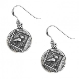 Athena & Owl - Ancient Greek Silver Coin Hook Earrings