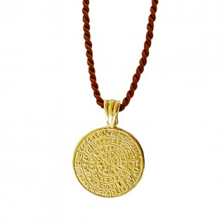 Minoan Phaistos Disk ~ Silver/24K Gold Plated Pendant Necklace - M