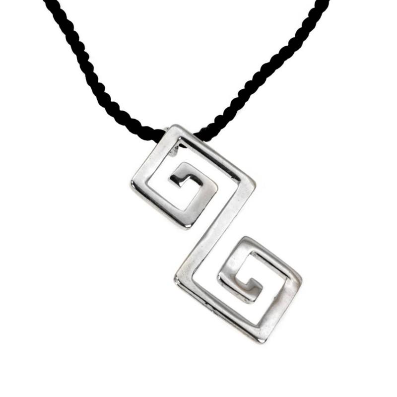 Double meander greek key sterling silver pendant with choker double meander greek key sterling silver pendant with choker aloadofball Choice Image