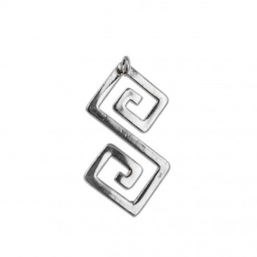 Double Meander-Greek Key ~ Sterling Silver Pendant with Choker