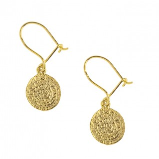 Minoan Phaistos Disk ~ Silver/24K Gold Plated Earrings -XS
