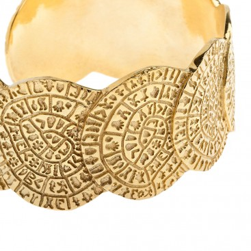 Minoan Phaistos Disk ~ Gold Plated Sterling Silver Large Cuff Bracelet with Overlapping Disks