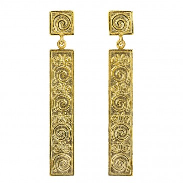 Gold Plated Sterling Silver Long Bar Dangling Spiral Earrings