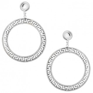Meander Greek Key ~ Sterling Silver Large Dangling Post Earrings