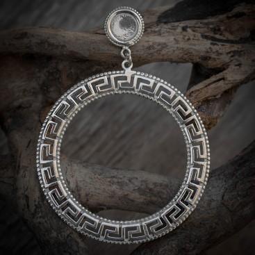 Meander Greek Key ~ Sterling Silver Large Dangling Post Earrings