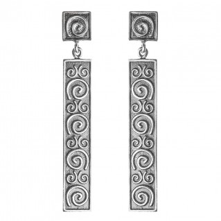 Sterling Silver Long Bar Dangling Spiral Earrings