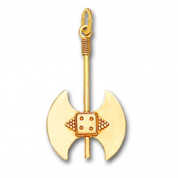 Minoan Double Axe - 14K Solid Gold Pendant C/Large