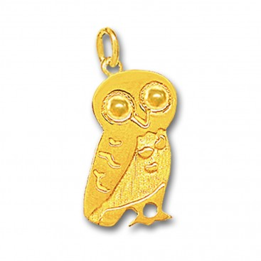 Wise Little Owl ~ 14K Solid Gold Pendant - C/Large