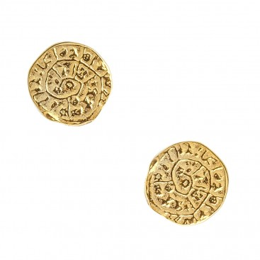 Minoan Phaistos Disk ~ Yellow Gold Plated Sterling Silver Small Stud Earrings