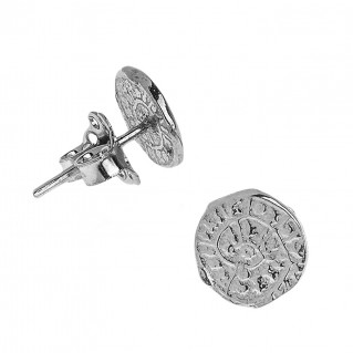 Minoan Phaistos Disk ~ Oxidized Sterling Silver Small Stud Earrings