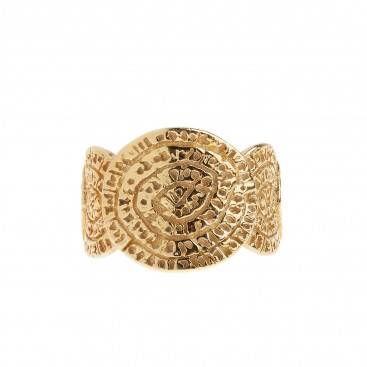 Minoan Phaistos Disk - Gold Plated Sterling Silver Open Band Ring