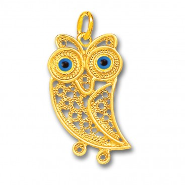 Wise Little Owl with Blue Eyes ~ 14K Solid Gold Filigree Pendant - A/L