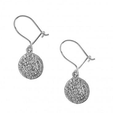 Minoan Phaistos Disk ~ Sterling Silver Hook Earrings -XS