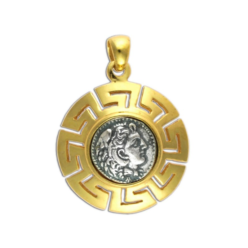 Alexander the great silver24k gold plated coin pendant meander bezel alexander the great silver 24k gold plated coin pendant meander bezel aloadofball Images