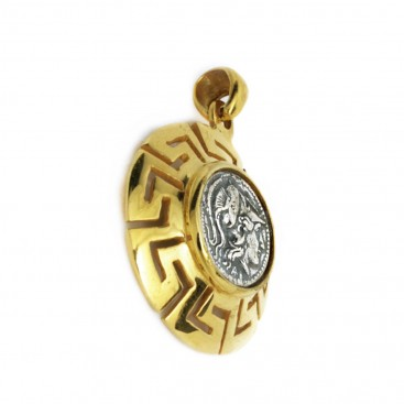Goddess Athena Stater ~ Greek Silver & Gold Plated Coin Pendant B