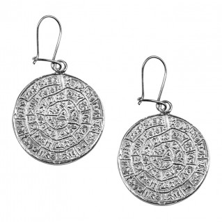 Minoan Phaistos Disk ~ Sterling Silver Hook Earrings- L