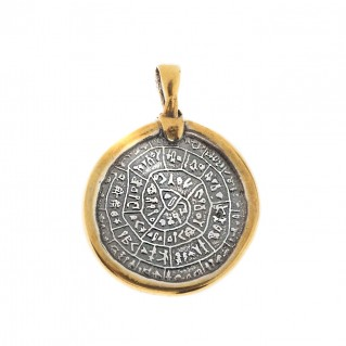 Minoan Phaistos Disk ~ Sterling Silver Pendant with Gold Plated Bezel - M