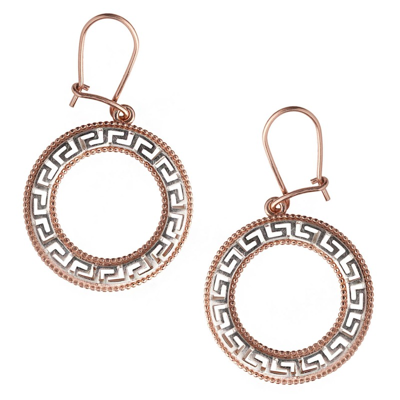 Meander Greek Key Sterling Silver With Rose Gold Accents Drop Earrings