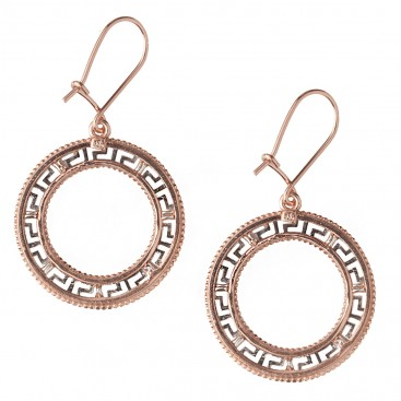 Meander-Greek Key ~ Sterling Silver with Rose Gold accents Drop Earrings