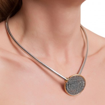 Minoan Phaistos Disk - Sterling Silver Two-Tone Torc Necklace