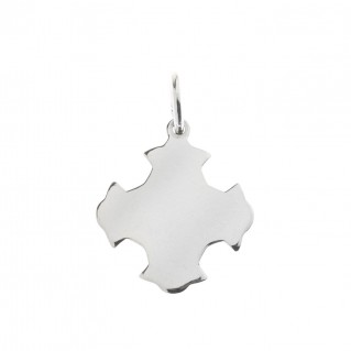 Sterling Silver Flat Shiny Greek Budded Cross Pendant