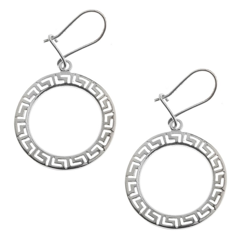 Meander Greek Key Sterling Silver Large Dangling Earrings With Hooks