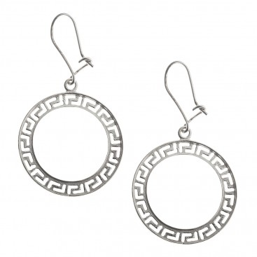 Meander Greek Key ~ Sterling Silver Large Dangling Earrings with Hooks