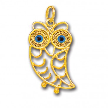 Wise Little Owl with Blue Eyes ~ 14K Solid Gold Filigree Pendant - B/L
