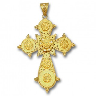 18K Solid Gold Ornate Filigree Budded Cross Pendant - A/Xlarge
