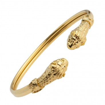 Lion's Head ~ Gold Plated Sterling Silver Cuff Bracelet