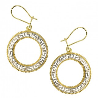 Meander-Greek Key ~ Sterling Silver with Yellow Gold accents Drop Earrings