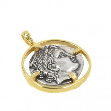 God Apollo & Lyre Silver Tetradrachm ~ Sterling Silver Coin Pendant